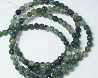 3 Strands  moss Agate 6mm round Loose Beads