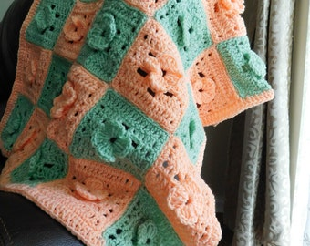 PDF Instant Download Crochet PATTERN No 123  Granny Flower Squares Baby blanket  afghan  throw