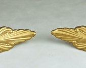 Pair of Lovely Vintage Gilt Painted Repoussé Metal Neoclassical FLORAL CURTAIN TIEBACKS, Circa early to mid 1940's