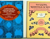 Lot 2 DESIGN BOOKS, Cartouches, Frames, Ribbons, Scrolls Etc., Soft cover, 1st Editions, 1975 & 1983