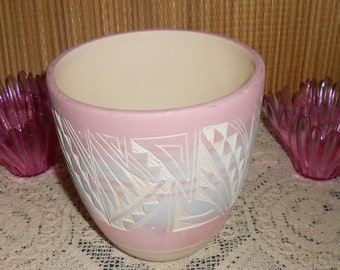 Native American Navajo Hand Etched Pottery Planter Pot - Signed D Lee Nav. USA