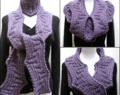 Hand Knitting Pattern PDF -  Scarf  Super Bulky Reversible Design - Very Versatile - Arc of the Hypotenuese