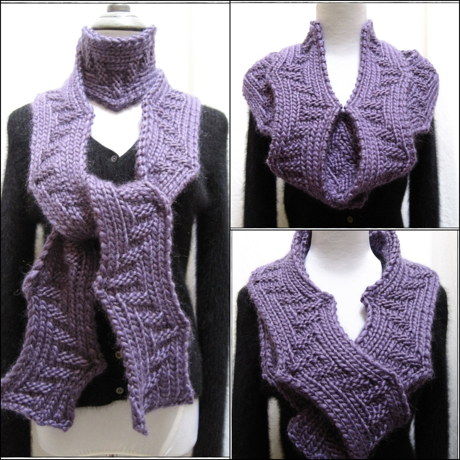 Knitting Pattern For Bulky Scarf : Hand Knitting Pattern PDF Scarf Super Bulky Reversible