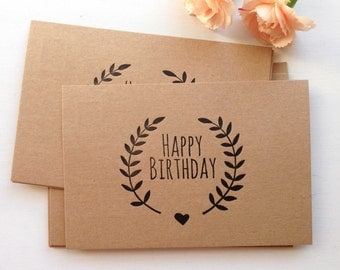 Birthday Card - Letterpress Stationery - Birthday Postcard - Letterpress Birthday Card - Vintage Postcard - Laurel Wreath - Happy Birthday