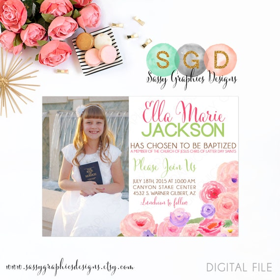 lds baptism invitation for girls floral baptism invite girl