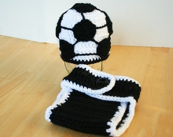 Soccer outfit for baby, soccer gift, Baby soccer outfit, newborn soccer hat and diaper cover, soccer hat for baby boy or baby girl