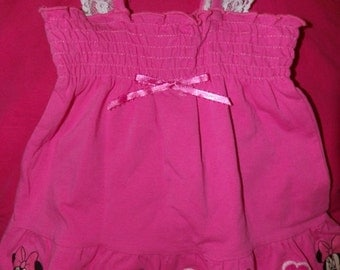 6 to 9 months bright pink knit sundress & panties with Mini Mouse and flower appliques - k08a3