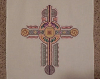 Celtic Iona Cross Cross-Stitched Picture