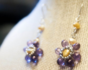 Purple Flower Earrings with Gold Freshwater Pearl Centers on Silver Plated Wire - Golden Amethyst - Art Jewelry by Ardent