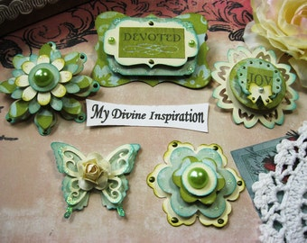 Ivory Green and Aqua Blue Paper Embellishments Paper Flowers, Scrapbook Embellishments, Embellishments for Cards Mini Albums and Papercrafts