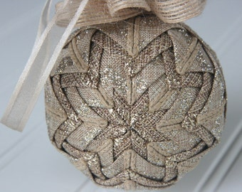 Quilted Ornament Ball/Gold and Tan - Parchment Glimmer