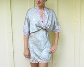 Vintage 1980s PAPILLON for PAULA CARBONE satin-polyester floral slip and robe set, size large