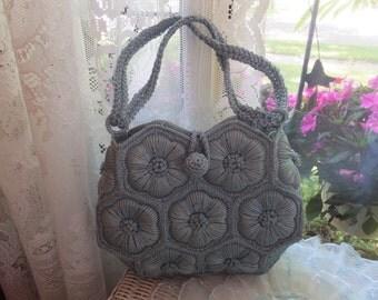 Vintage Hand Crochet Aqua Blue Floral Purse Handbag