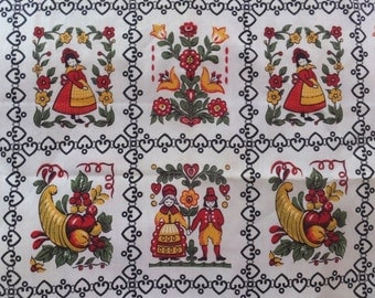 Vintage Pennsylvania Dutch Folk Art Cotton Fabric