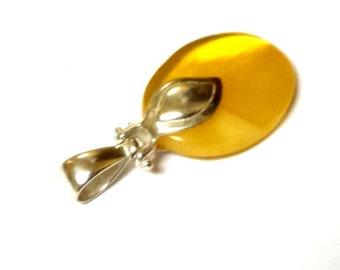 Baltic Amber Yellow Pendant Cloudy Natural 1.57″ 4.2 gram 925 Silver