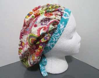 Multicolored Paisley Floral Print on White with Coordinating Teal and White Damask Bouffant Surgical Scrub Cap