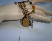Hand-made 925 Sterling Yellow Butterscotch Agate stone pendant/ glass beads necklace