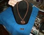 Vintage Necklace, Copper/earring set circa 1940-1950's