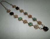 VIntage Gem Rock Necklace, Hand-made necklace, Multi gem rocks stone Necklace circa 1970's