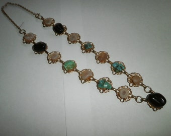 VIntage Gem Rock Necklace, Hand-made necklace, Multi gem rocks stone Necklace, circa 1970's