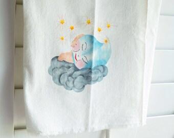 Vintage Dish Towel Whimsical Raindrop Baby Kitchen Linen Retro Kitsch Cottage Shabby Decor Flour Feed Sack