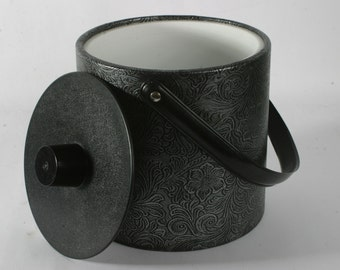 Vintage Irvin Ice Bucket - Black and Silver with Floral Pattern