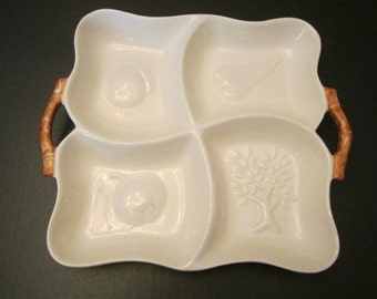 Haeger Divided Serving Dish SP 20 USA - Fruit Tree Design Four Section Snack Tray