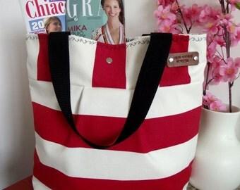 Striped TOTE Beach Bag Striped Tote Bag red white handbag Stripes Nautical Diaper bag Waterproof Diaper Bag