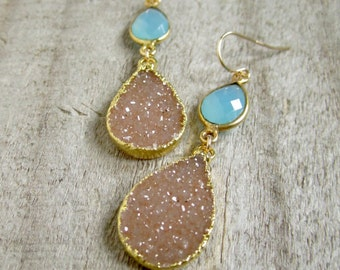 FLASH SALE 25% Druzy Earrings Drusy Quartz Aqua Chalcedony Drops 14K Gold Fill