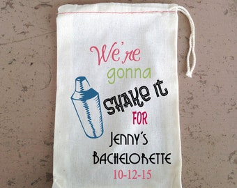 Hangover Kit, Mature , Bachelorette Party,  Hangover Kit, Drawstring Favor Bags, Personalized FREE, Cocktail Shaker
