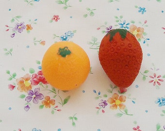 Two Sweets 80s Fruits Erasers.Vintage