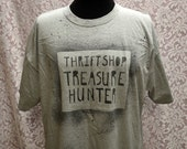 Upcycled Light Grey Thrift Shop Treasure Hunter 2 XL Adult Stenciled Tee