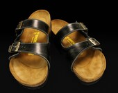 Leather Sandals, Custom Birkenstocks:  Black Distressed Birks