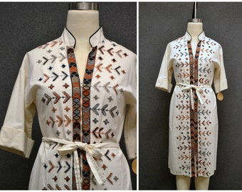 1970s Miss K, Alfred Shaheen Embroidered Dress