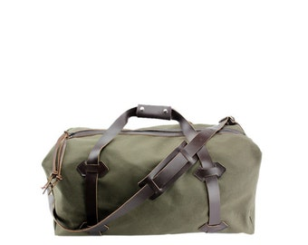 "NEW!!! - 18"" Carry-On Travel Duffel - Water Resistant Roomy Cotton Duck - Forest Green - Made in the USA"