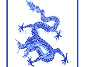 Chinese Dragon in Blue Giclee