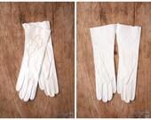 1950s NOS bridal opera gloves - white kid leather / floral eyelet cutwork - 50s cotillion / wedding - holiday - debutante
