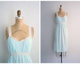 deadstock 1950s 60s nightie - mint green / 50s pastel nightgown - vintage lingerie / silky nylon tricot, lace & chiffon