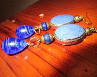 Beautiful Genuine LAPUS LAZULI, CORAL and Brass Dangle/Drop Vintage Pierced Tibetan Vintage Earrings w/Sapphire Lamp Work Glass Drop