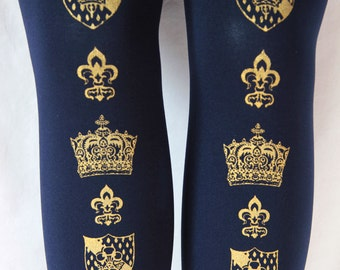 Crown Printed Tights Extra Large Plus Size Gold on Navy Deep Blue XL Steampunk Classic Lolita Dolly Kei Otome