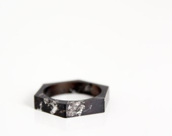 girlfriend gift minimalist geometric stacking ring, black size 6 ring,  eco resin hex ring with silver leaf flakes