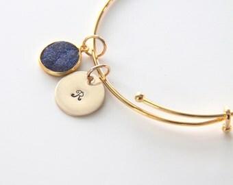 Druzy Bracelet | Gift For Gooddaughter | Gold Druzy Bracelet | Initial Bracelet | Drusy Bracelet | GIft For God Daughter | Daughter |