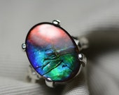 Large Multi Color Ammolite Solitaire Ring Sterling Silver 18x13mm