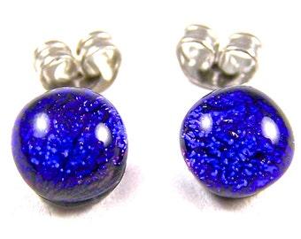 "Tiny Dichroic Post Stud Earrings - 1/4"" 6mm 7mm - Cobalt Sapphire Blue Navy Midnightdark Blue Dichro Dot Studs - Fused Glass"