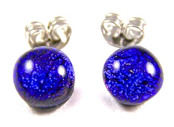 "Tiny Dichroic Post Stud Earrings - 1/4"" 6mm 7mm - Cobalt Sapphire Blue Navy Midnightdark Blue Dichro Dot Studs - Fused Glass"