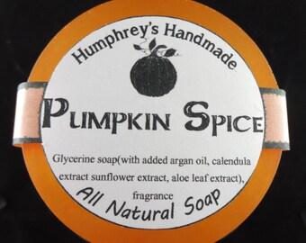 PUMPKIN SPICE Glycerin Soap, Shave & Shampoo Soap, Beard Wash Round Soap Puck, Argan Oil Brown,  Men's Women's Unisex Cinnamon Nutmeg Pie