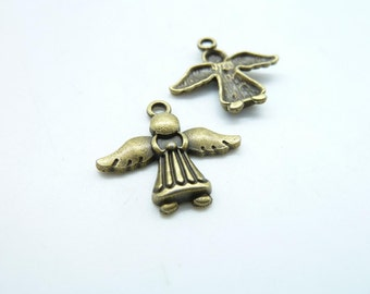 15pcs 21x22mm Antique Bronze Mini Angel Charm Pendant C5250