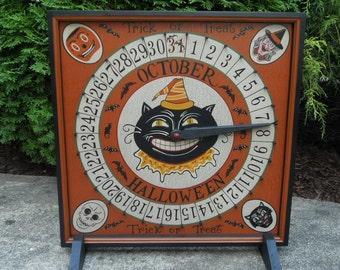 Halloween Advent Calendar - Black Cat Advent Calendar - Primitive Pumpkin, Retro Witch, Skeleton