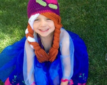 Anna Inspired Hat/ Crochet Anna Wig/ Anna Hat Crochet/ Anna Wig in Child Size- READY TO SHIP
