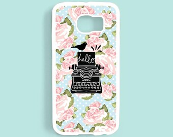 Shabby Chic Floral Typewriter Samsung Galaxy S6 Case , iPhone 7 6 6 plus 5s 5c 4s Case, Samsung Galaxy s5 s6 s4 s3 Case, Note 3 4 case NP32